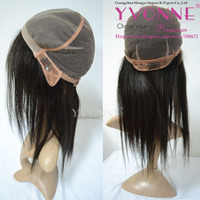 Guangzhou hongye hair products, Silk top glueless cap Indian hair full lace wig double knotted
