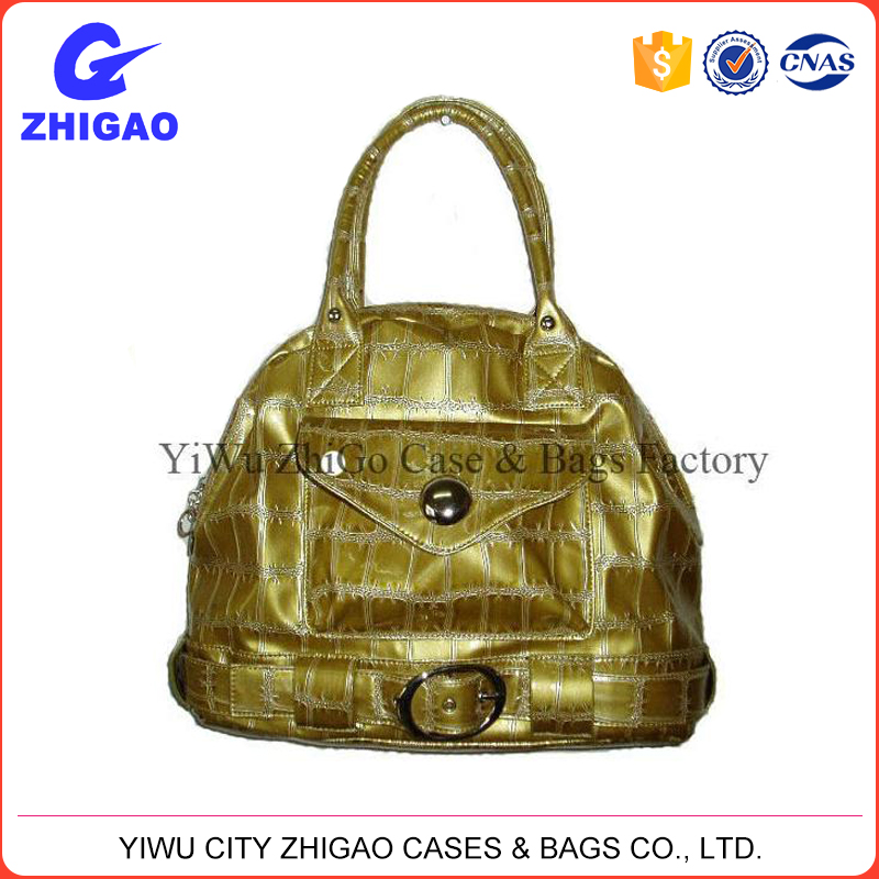 good quality stone grain pu handbag with strap & buckle decoration
