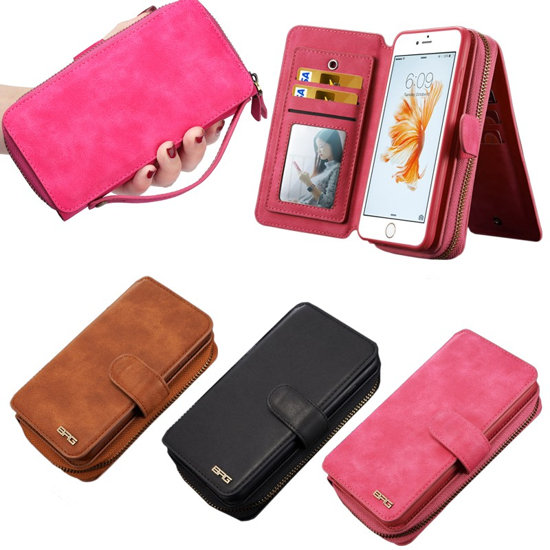 Case for iPhone 6/6s, for iPhone 6/6s 2016 New Retro Leather Wallet Case with 11 Card Slots and Photo Flame