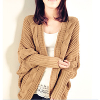 European and American stylish candy color romantic style batwing sleeve open front women knit sweater