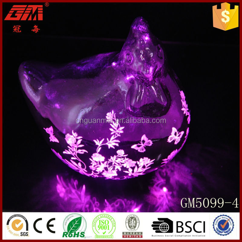 Hen shape electroplate glass decoration with LED inside