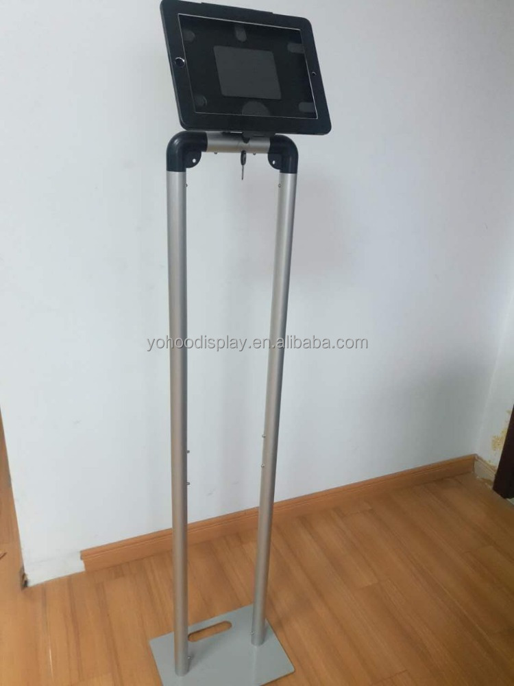 IPAD holder tube display stand with iron heavy base for display exhibition trade show