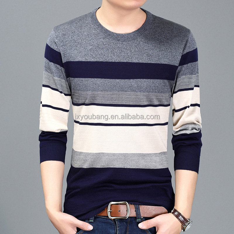 2017 New Arrival crew neck casual style long sleeve stripe polyester man sweater
