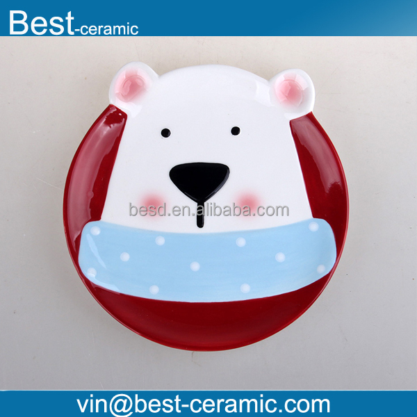 round shape with polar bear head design hand painted Christmas ceramic plates