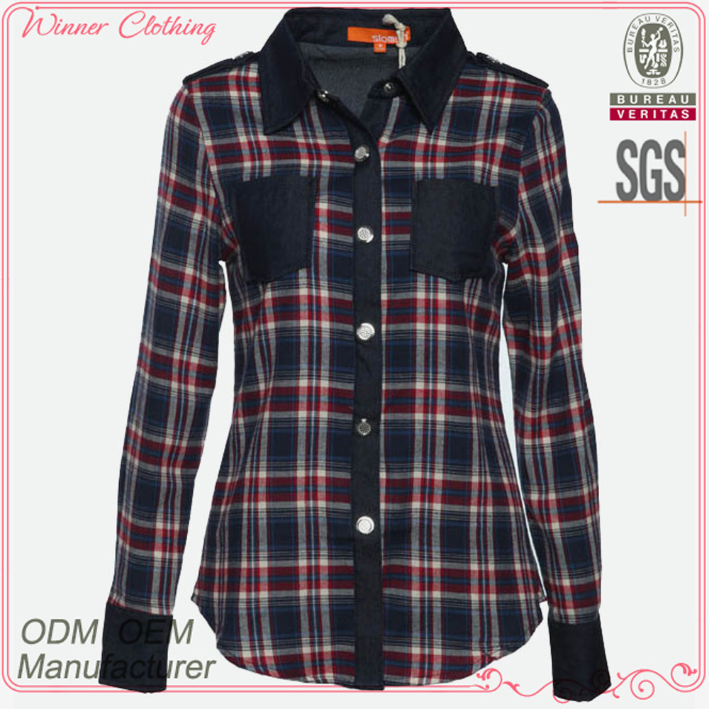 Women clothing school girl casual wear women new design cotton stripe shirt long sleeve fit plaid shirt for women