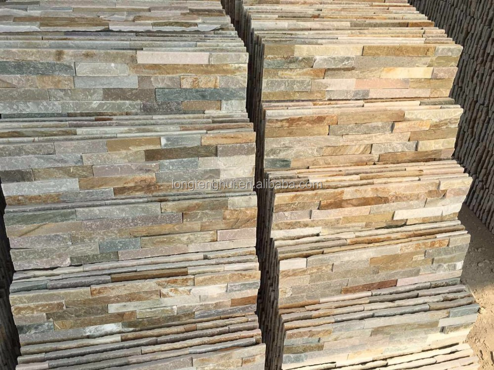 European Golden light quartz natural slate stacked stone panels wall cladding