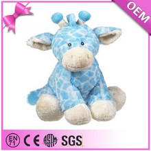 Factory wholesale soft wild animal custom stuffed giraffe, blue giraffe plush toy