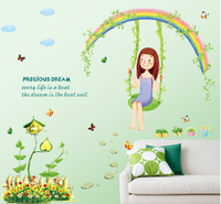 AY7264 swing girl home decorate Wall Sticker 50*70