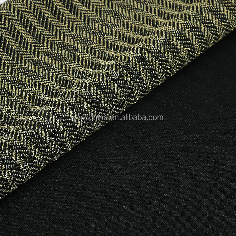Soft touch Fashion design metallic (lurex)with spandx Jacquard Polyester Knitted Fabric For dress