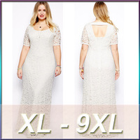 Latest dress designs for 2015 Women sexy back lace long plus size dress wholesale