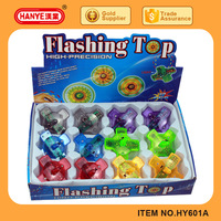 Kids Hand Screw Flashing Plastic Spinning Top Toy 12pcs