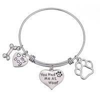 New Product Ideas 2019 Silver Adjustable Wire Bangle Custom Lovely Dog Charm Bracelet For Promotion