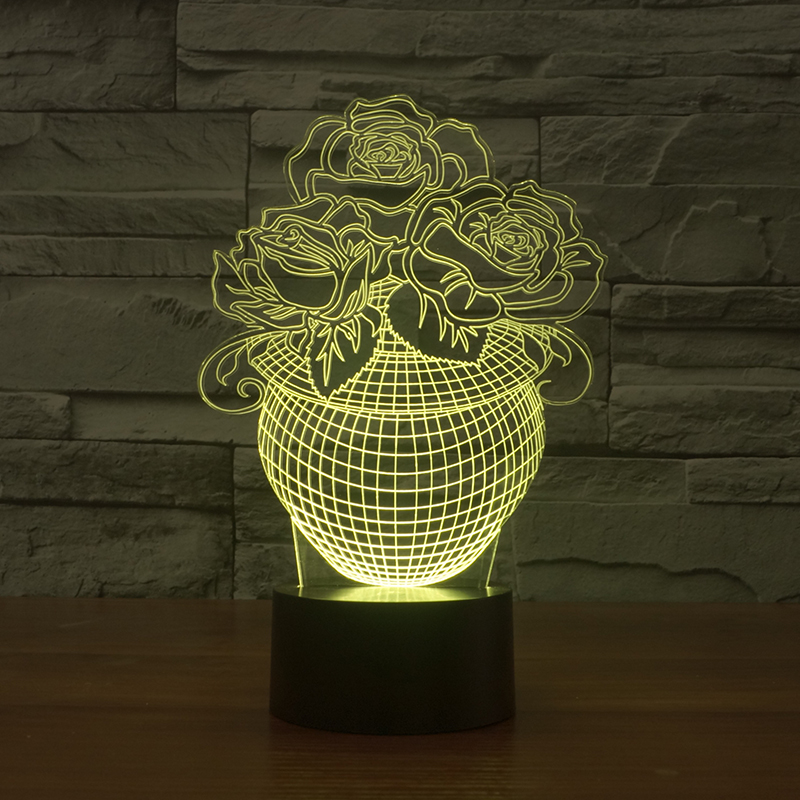 FS-2947 Hot selling acrylic led night light with 7 color desk lamp by sensor switch 3d illusion light