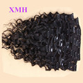 High quality 100%human natural black color clip in curly hair extension