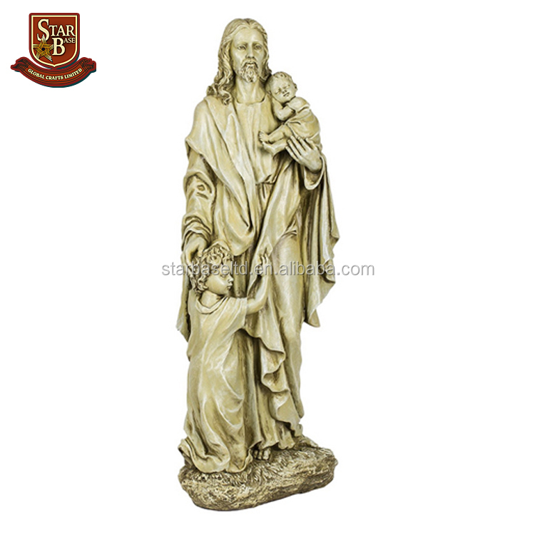 Handmade tall standing desus with 2 children resin religious status wholesale