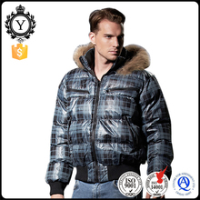 COUTUDI 2016 high quality latest design hoodie fur trimmed waterproof racing khaki plaid pattern jacket for men