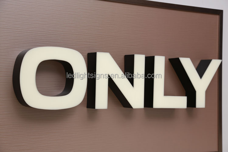 Indoor frontlit double layers acrylic 3d box acrylic letter sign black light letters for chain store logo name display