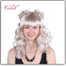 cheap synthetic silver white cosplay wigs