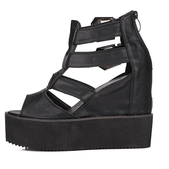 8fb6503c77bbf6 Get Quotations · New 2015 Rome Gladiator Sandals Women Buckle Cut-Outs  Sandalias Mujer Fish Head Black Platform