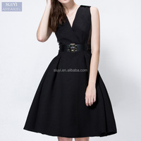 2016 new fashion women's pure color v-neck evening style sexy pretty sleeveless dress