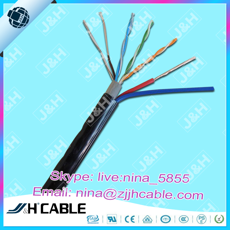 CMR 1000Ft Passed Fluke Test Lan cable With 2C Power Cable Double Sheath for outdoor application fluke passed