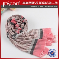 New arrival fashion wrinkle voile scarf and stripe viscose shawl