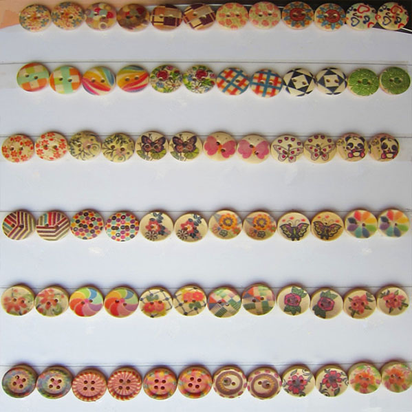 custom cheap high quality 15mm painted printed wooden buttons bulk
