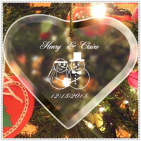 Lovely Couple Snowman Etched Glass Hanging Heart Ornament