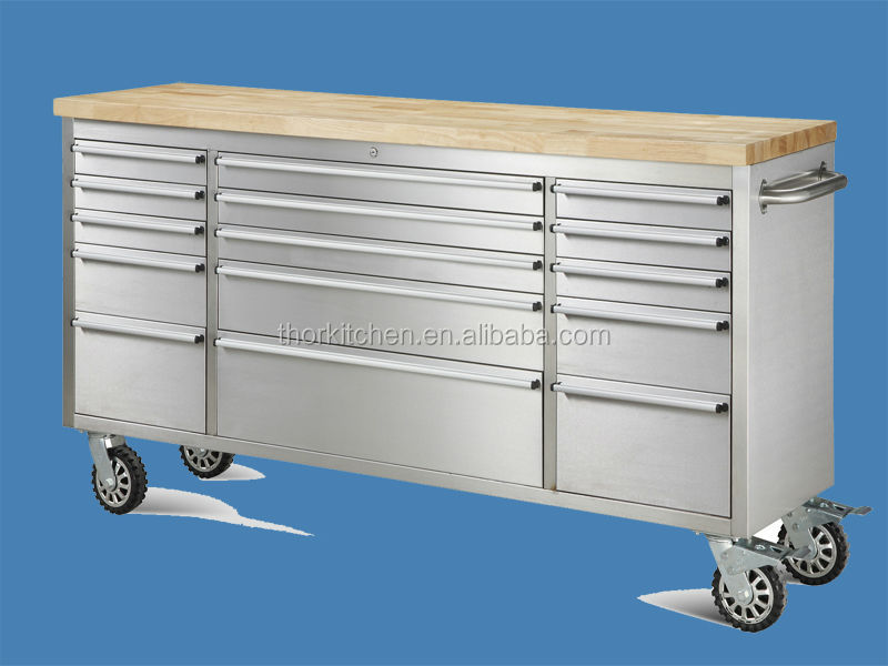 72 inch stainless steel tool trolley box with wheel/roller tool box trolley with drawer