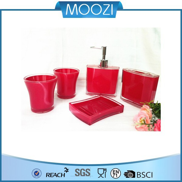 pink red Bathroom Sanitary 5 Piece Set- Toothbrush Container,Soap Holder,Hand dispenser Bottle,Cup