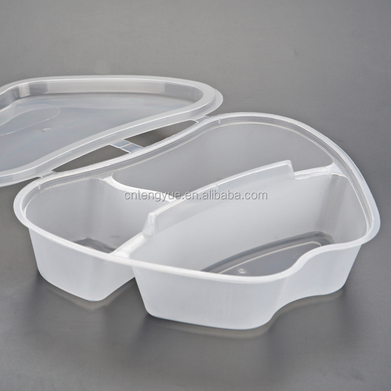 White transparent takeaway food container plastic disposable lunch tray