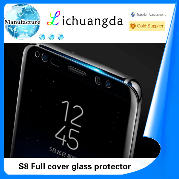 Hot bending full cover tempered glass screen protector for samsung S8 S8 plus mobile phone sheet
