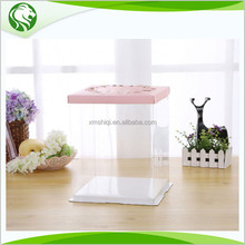 Square Plastic Tall Birthday Cake Box For Wedding Cake