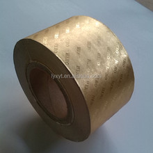 Gold Aluminum Foil Cigarette packet wrapping Paper /laminated paper jumbo roll