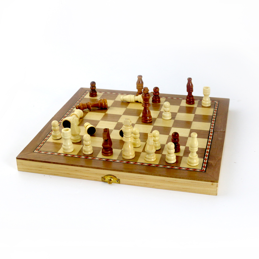 "New Folding Chess Board Wooden Chess Sets 3"" Chess Pieces"