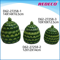 Wholesale ceramic table pinecone shape candy jar