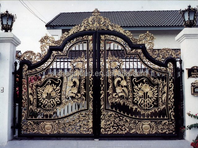 GYD-15G1193 craft luxury antique wrought iron driveway gate SG-15G009