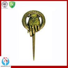 Gold Color Newly Metal Military Emblem Leather Key Fob