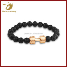 New Design Dumbbell Bracelet Men Black Turquoise Healing Bead Bracelet for Be Fit