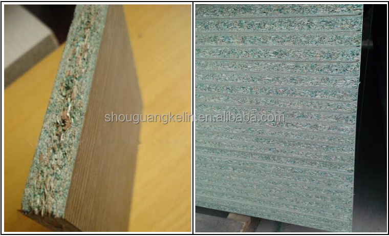 E1 grade green color melamine laminated waterproof particle board