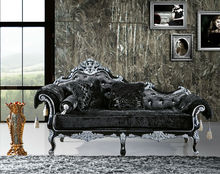 2014 European style antique wooden chaise lounge is used solid wood, fabric and high density sponge for the living room