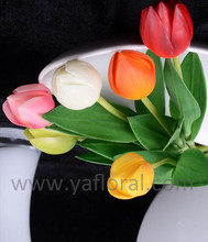 Goodprice&punctal delivery arrificial silk coated plastic tulip for decoration