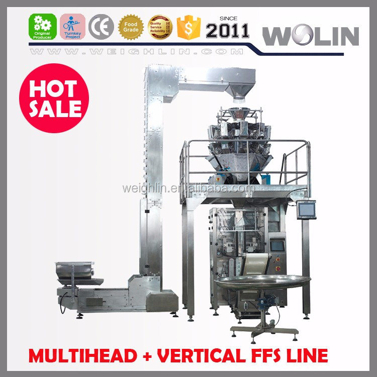 Full food packing line 10 14 head multihead weigher vertical form fill seal roll plastic film