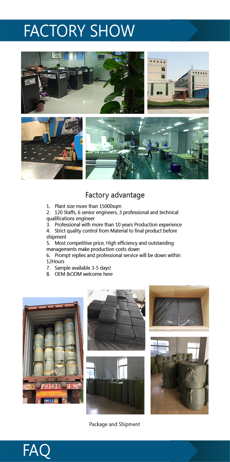 Activated carbon filter fabric cloth roll nonwoven material