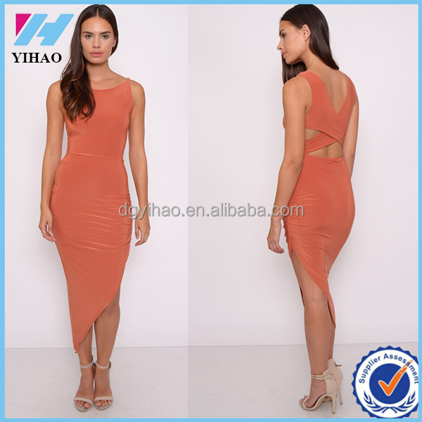 Sexy Women Summer New Fashion Rust Asymmetric Slinky Dress Ladies Plus Size Party Vestidos Sexy Casual Dress