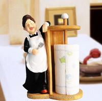 Warm family necessary resin lady kitchen tissue paper roll holder