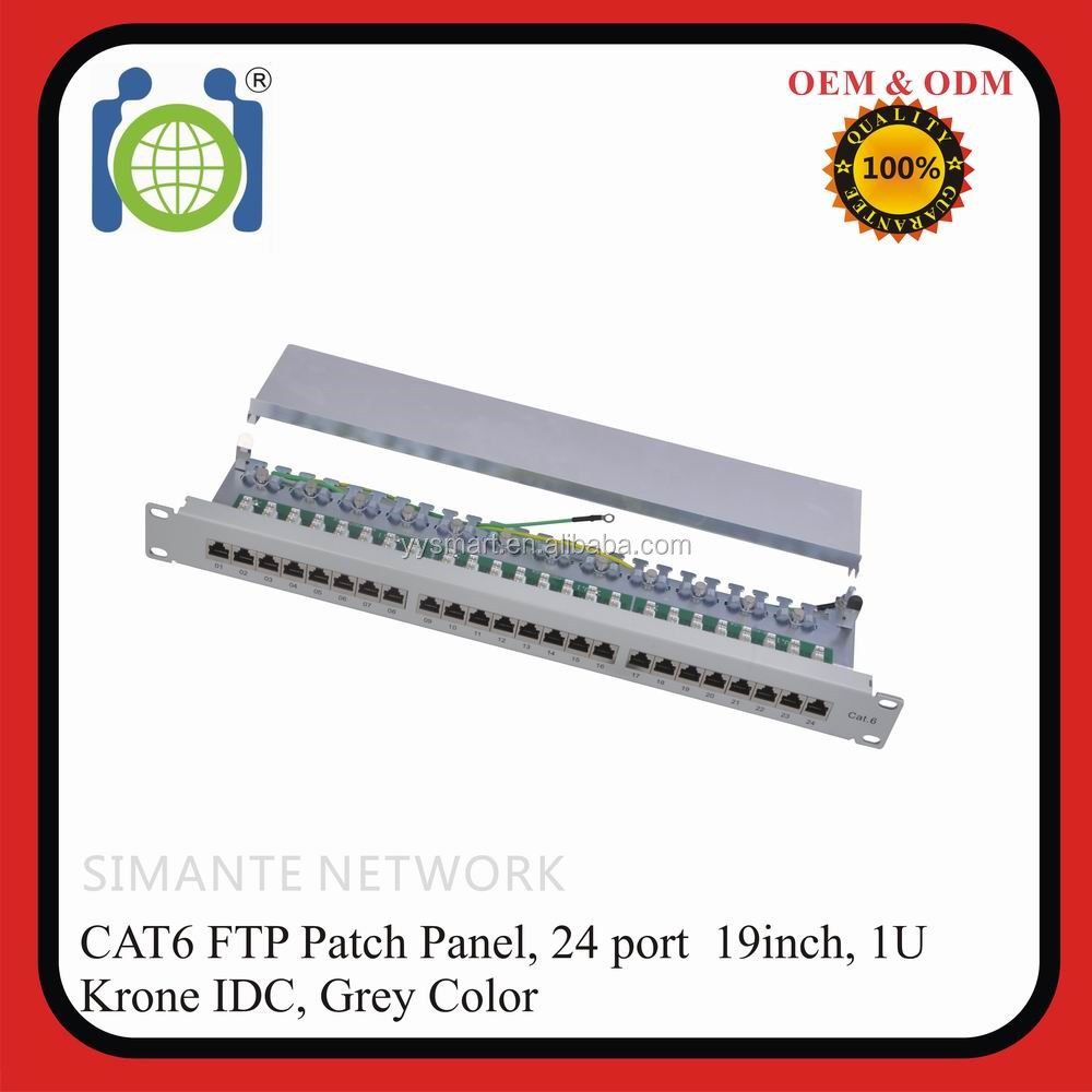 24 ports CAT.6 shielded 8p8c patch panel