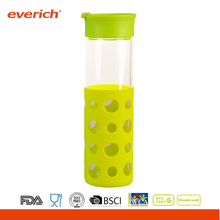 Borosilicate Drink bottle glass With New Silicone Sleeve