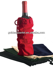 Single Bottle Wine Drawstring Cotton Bag ( BSCI and social audit factory )