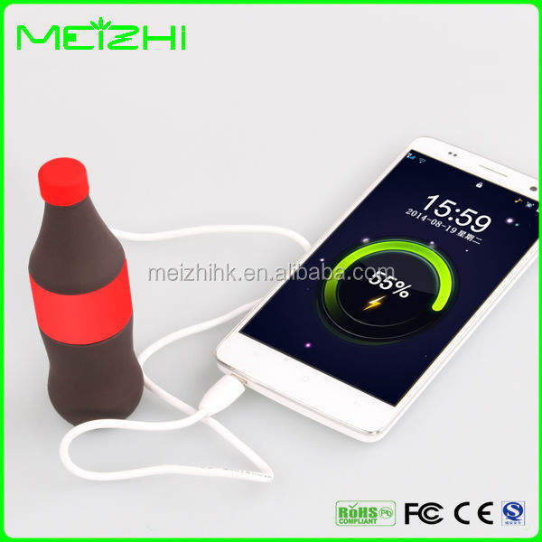 2016 new products newest design cola bottle shape canvas painting power bank